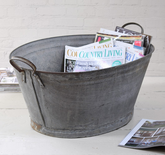 The vintage wall oval zinc garden tub early 1900s for Oval garden tub