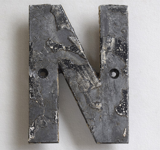 Victorian cast-iron railway station sign letter 'N'