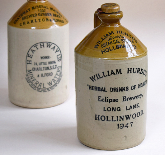 Antique stoneware flagon: William Hurdus Herbal Drinks, 1947