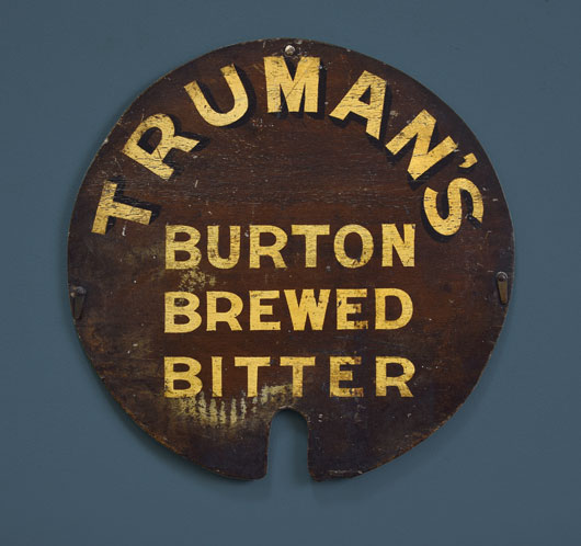 Antique Truman's Brewery barrel lid wall hanging