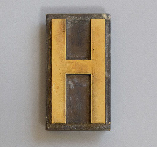 Antique printer's brass letterpress letter 'H', c. 1900