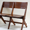 1930s folding oak 2-seater church chair