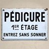 Early-1900s French enamel sign: Pédicure