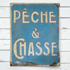 Antique French shop sign: Fishing and Hunting