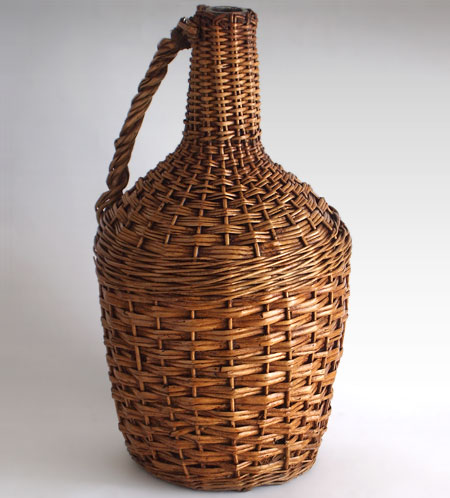 Large vintage French wicker and glass wine carboy, early 1900s