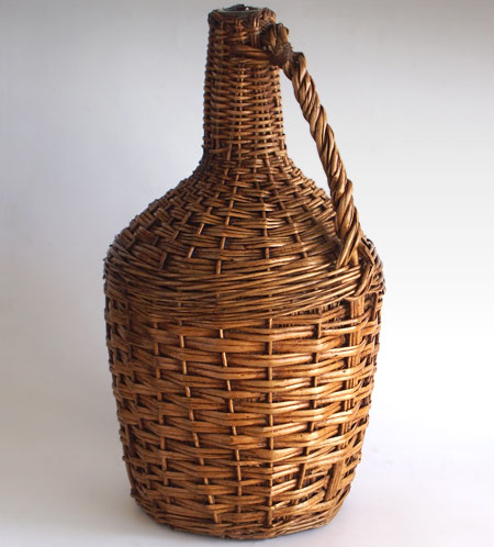 Large vintage French wicker and glass wine jug, early 1900s