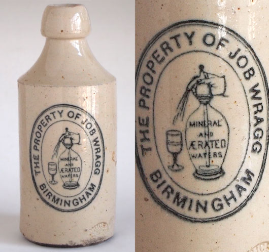 Victorian stoneware ginger beer bottle: Job Wragg, Birmingham