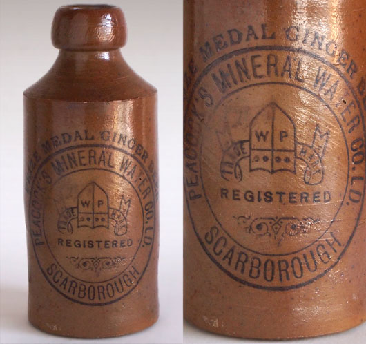 Victorian stoneware ginger beer bottle: Peacock, Scarborough