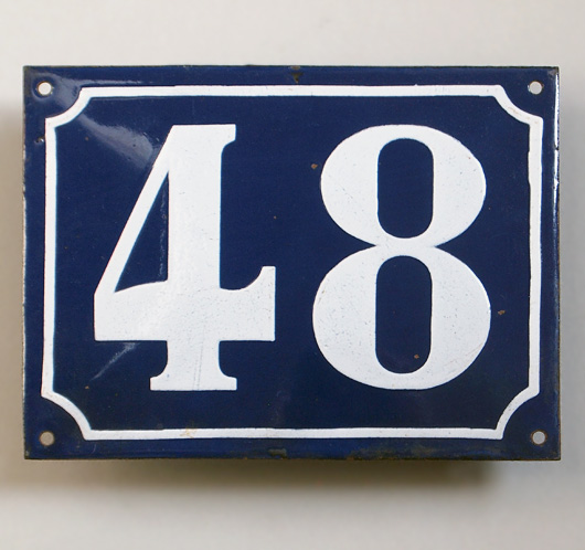 Vintage blue French enamel door number plaque '48'