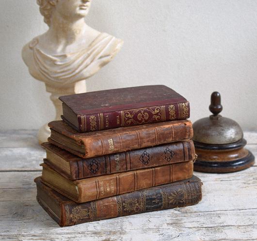 Five antique leather-bound biblical books, 1803-1939
