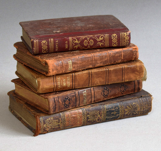 Five antique leather-bound biblical books, 1803-1939