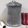 Extra-large fluted zinc bin and lid, early 1900s