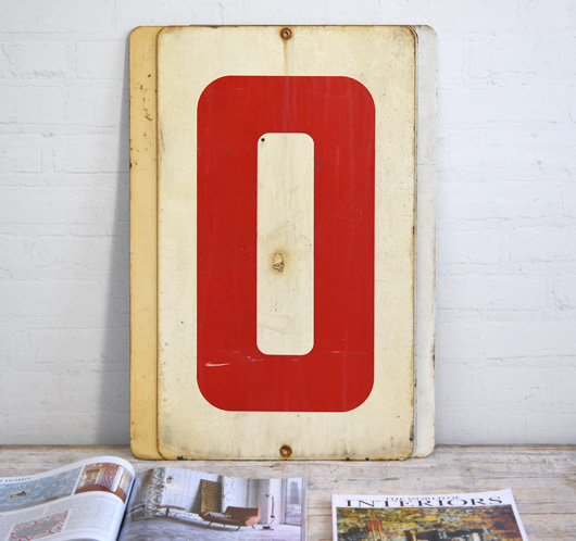 Large vintage double-sided metal number sign: 0/1