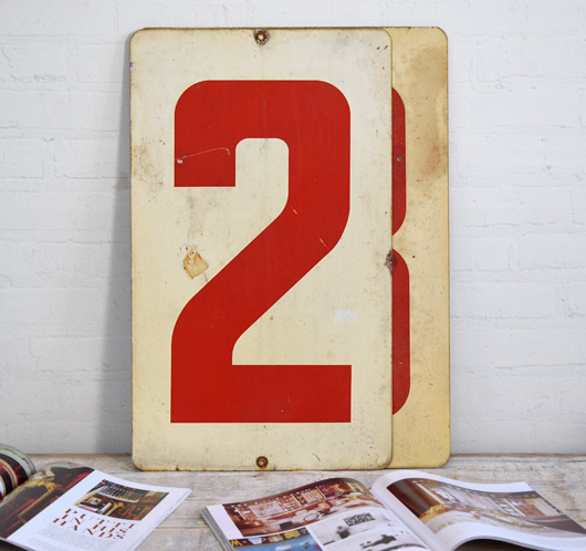 Large vintage double-sided metal number sign: 2/3
