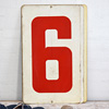 Large double-sided metal number sign: 6/7