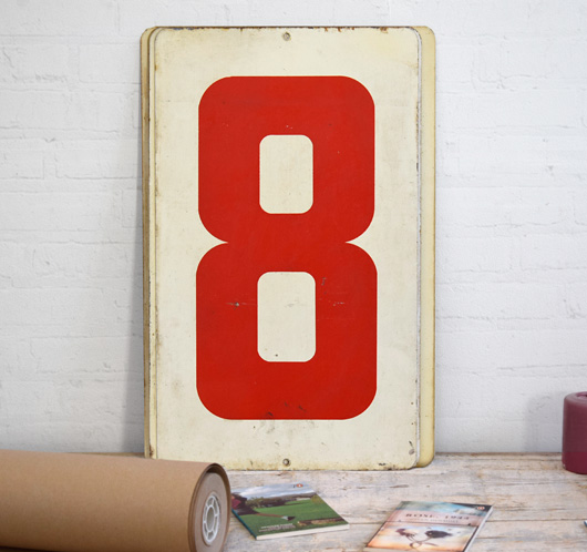 Large vintage double-sided metal number sign: 8/9