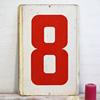 Large double-sided metal number sign: 8/9