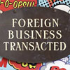 1920s brass and enamel sign: Foreign Business...