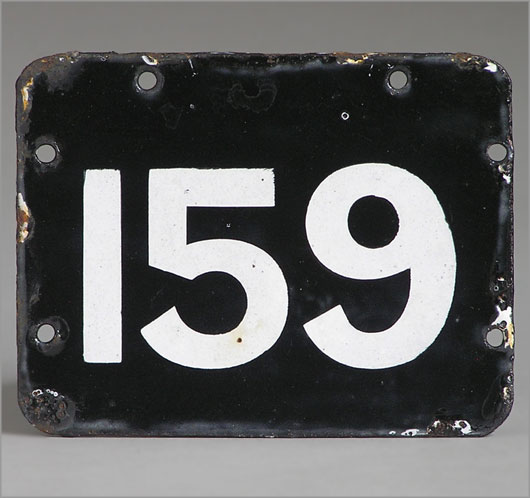 The Vintage Wall Monochrome Enamel Number Plaque 159