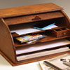 Oak stationery organiser with tambour shutter