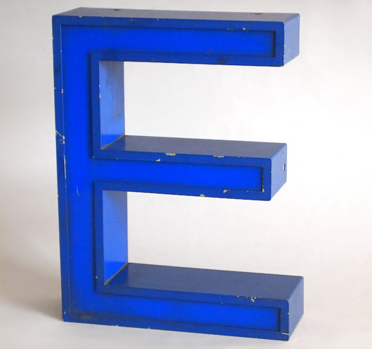 Vintage blue metal and perspex sign letter 'E', c.1980s