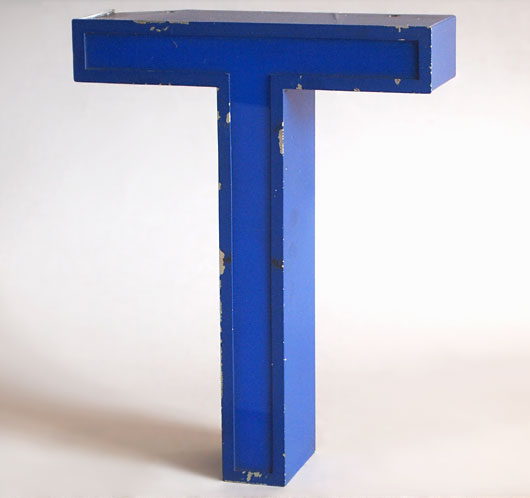 Vintage blue metal and perspex sign letter 'T', c.1980s