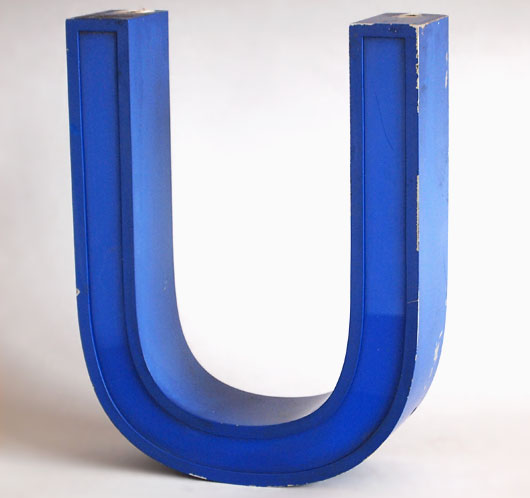 Vintage blue metal and perspex sign letter 'U', c.1980s