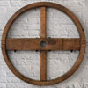 Large industrial wooden pulley wheel, 80cm