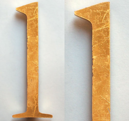 Vintage gold perspex store sign letter 'l' or 'one', 26cm