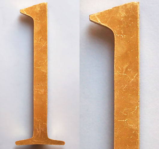 Vintage gold perspex store sign letter 'l' or 'one', 27.5cm