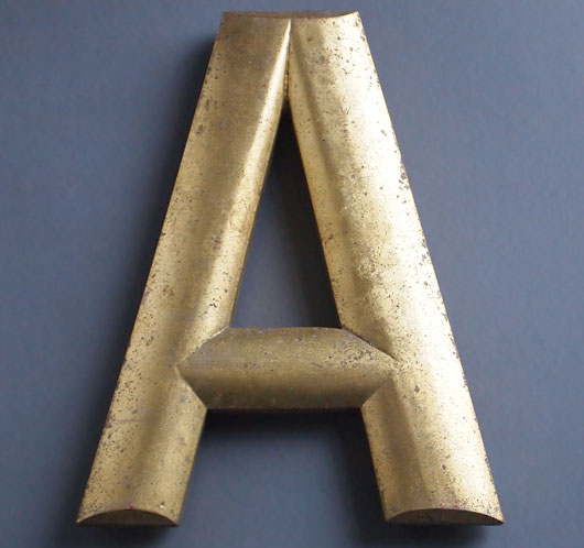 Vintage gold gilt pub sign letter 'A', early 1900s