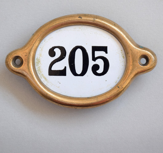 Antique brass and enamel hotel door number: '205'