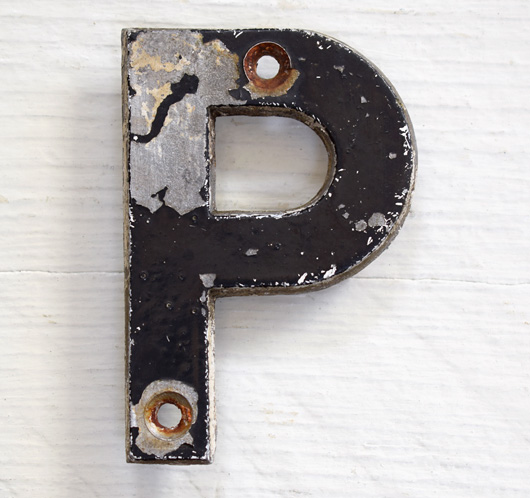 Mid-1900s vintage black painted metal sign letter 'P'