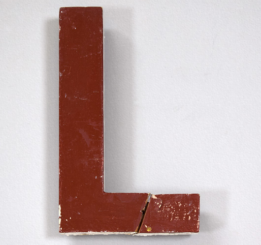 Mid-1900s painted wooden sign letter 'L'