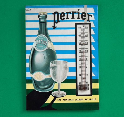 Mid-century vintage thermometer sign: Perrier