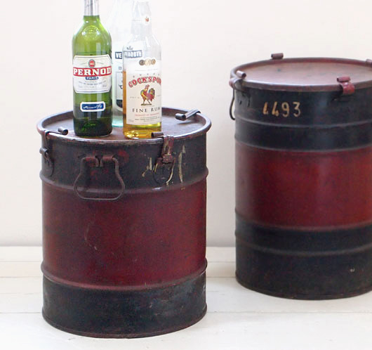 The Vintage Wall Early Black And Red Motor Oil Drum