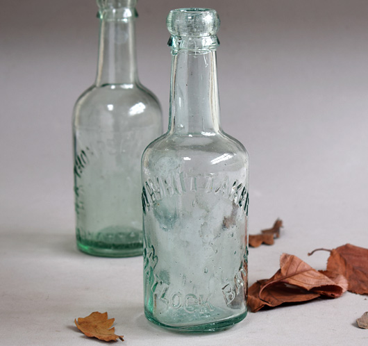 Pair of early-1900s vintage mineral water bottles