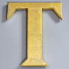 Large gold-leaf resin pub sign letter 'T'