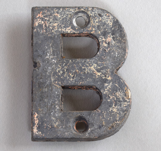 The Vintage Wall Small Cast Metal Sign Letter B C 1900