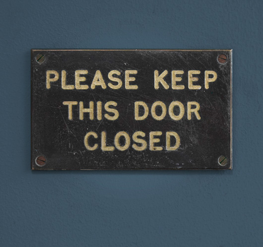 1930s antique brass and enamel sign: Keep Door Closed