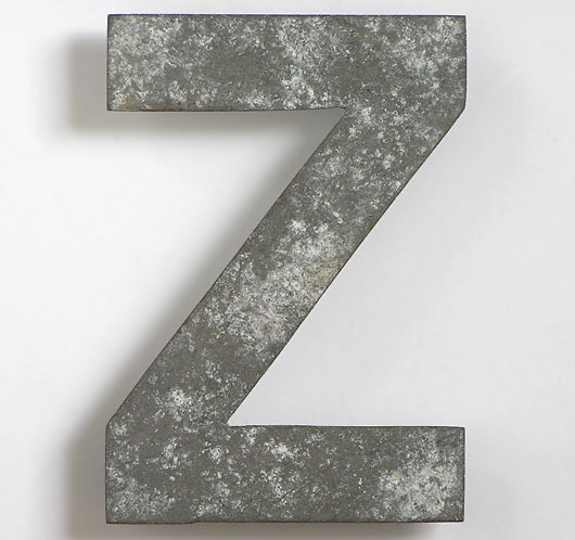 Early automobile number plate metal letter 'Z'