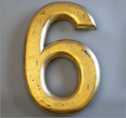 Large vintage gold gilded ex-pub sign number '6' or '9'