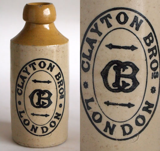 Vintage stoneware ginger beer bottle: Clayton Bros, London, c.1900
