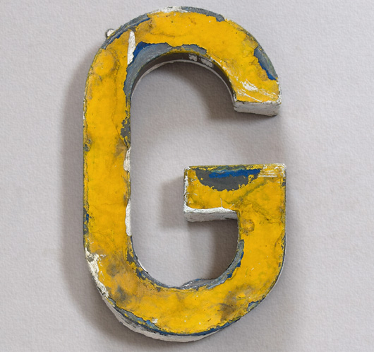 Vintage French painted zinc sign letter 'G', c. 1900
