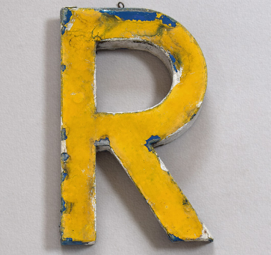 Vintage French painted zinc shop sign letter 'R', c.1900