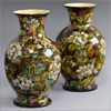 Large pair of Doulton botanical art vases, 1877