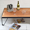 Wood and iron textile mill coffee table