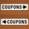1980s double-sided metal sign: Coupons