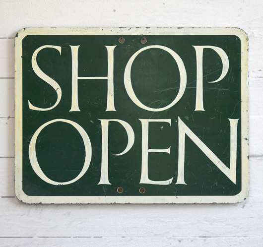 1920s painted metal sign: Shop Open/Shop Shut