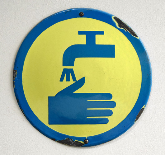 Vintage enamel safety sign: Wash Your Hands